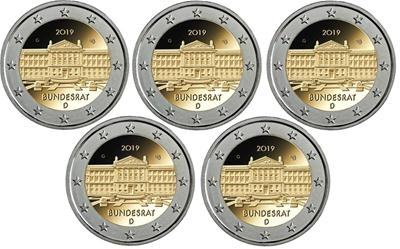 2 Euro Germany 2019 ADFGJ - UNC - Bundesrat