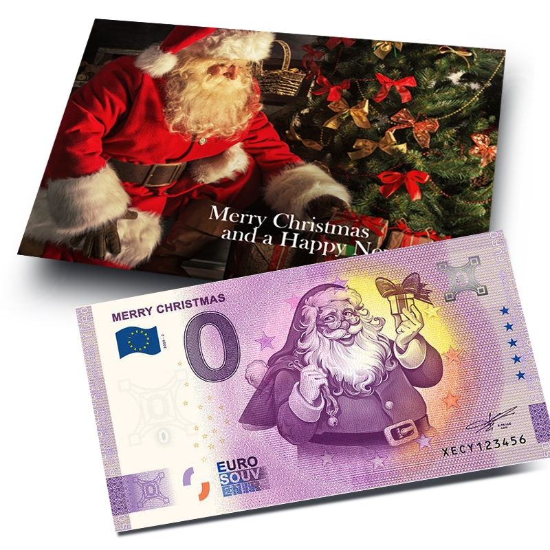 0 Euro Souvenir Merry Christmas with giftcard